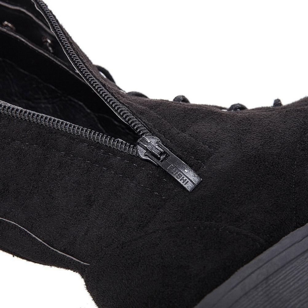 CN 37 Bottes Cuissardes Chaussures Femmes,Cross-tied Platform Chaussures Bottes hautes sur les bottes au genou Bottes /à talon plat GongzhuMM EU 36