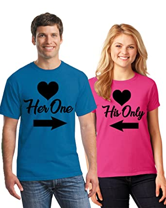 34aa6cc47c Pekatees Her One His Only Matching Couple Shirts For Valentine's Day Happy  Valentine's Day 2018 Cute