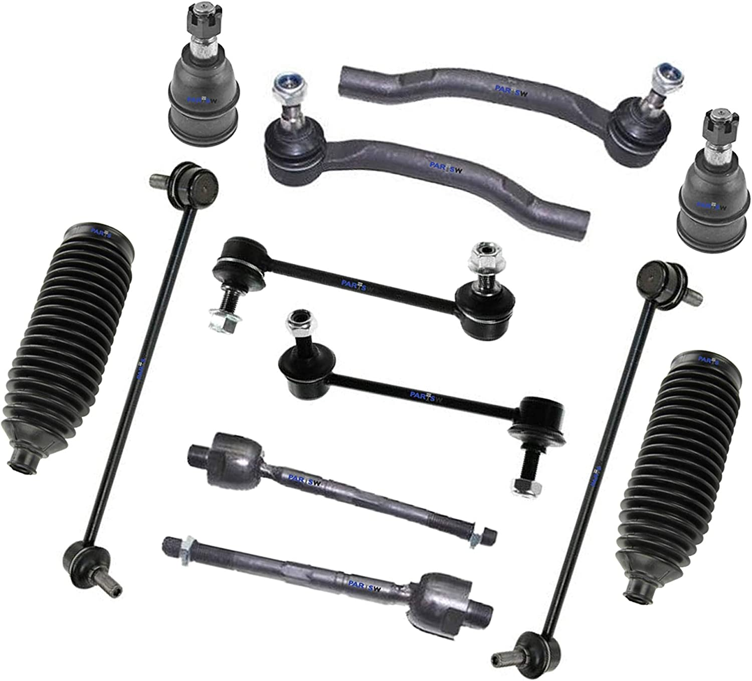 Rack and Pinion Bellow Boots Lower Ball Joints PartsW 12 Pc Front /& Rear Suspension Kit for Acura Sway Bar End Link Honda//MDX Pilot//Inner /& Outer Tie Rod End
