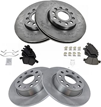 Ceramic Pads For Audi A3 VW Volkswagen Jetta Front+Rear Drill Slot Brake Rotors