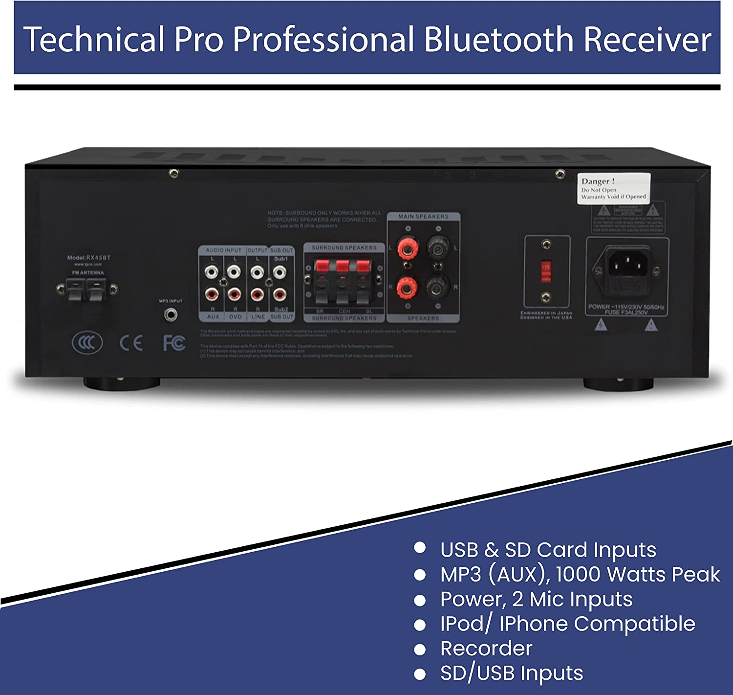 and Wireless Remote Recorder Technical Pro Professional 1000 Watts ...
