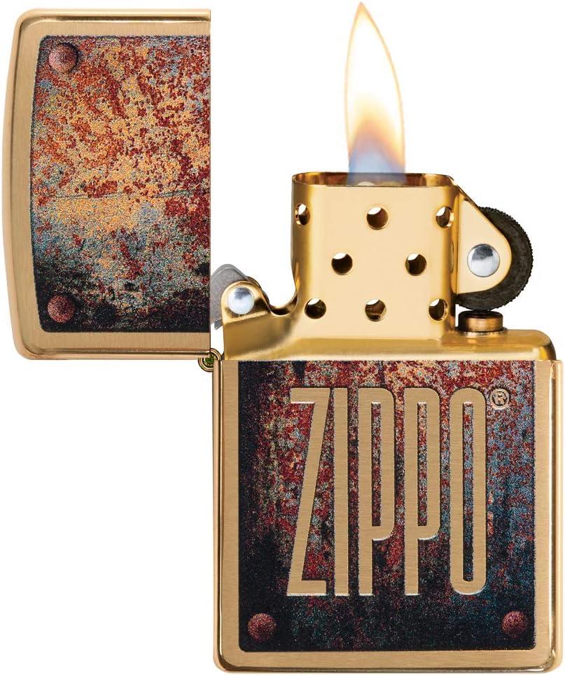 regular Zippo Unisexs RUSTY PLATE DESIGN Windproof Lighter Brass