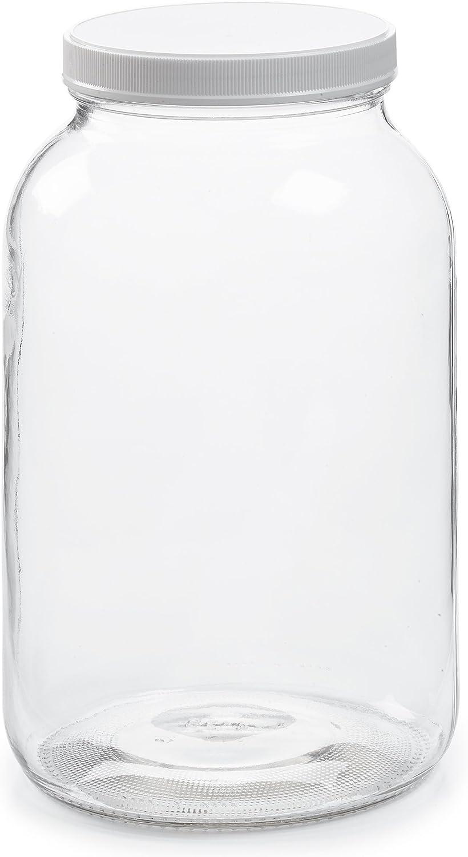 Vacío 1 Gallon jarra de cristal w/hermético a prueba de fugas tapa de plástico – Fácil de limpiar – libre de BPA y apto para lavavajillas – Boca Ancha USDA Certified –