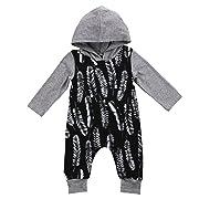 Pudcoco Newborn Baby Boys Girls Long Sleeve Hoodie Romper Full Feathers Print Splice Harem Jumpsuit (6-12M, Grey)