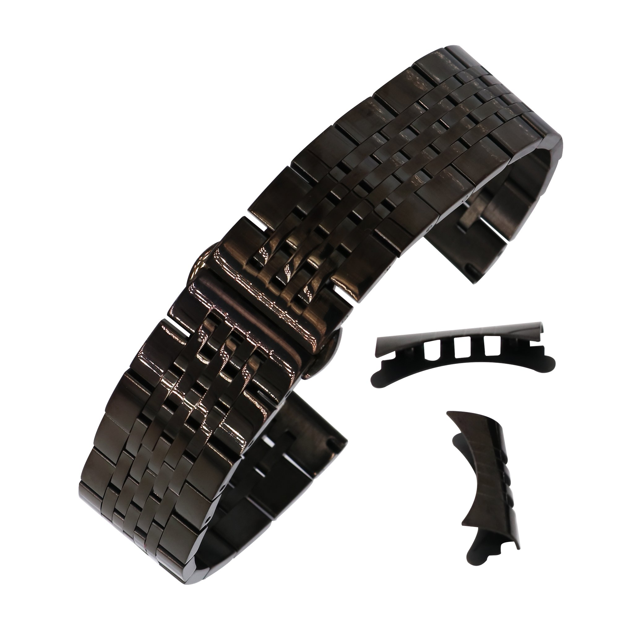 21mm Awesome Solid 304 Inox Steel Wristband for Men's Watch Polished Black Metal Watch Strap Bent End