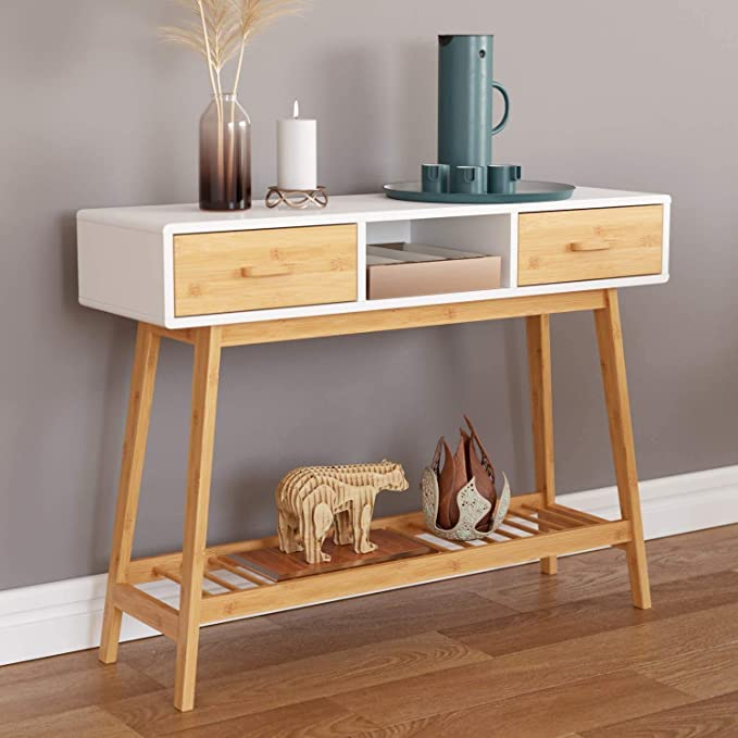 Homecho 39 4 Console Table Sofa Table With 2 Drawers Modern Entryway Table With Solid Bamboo Frame And Storage Shelf Narrow Foyer Table Behind Couch For Living Room Hallway Entry White Kitchen Dining Amazon Com