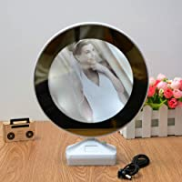 TIED RIBBONS Round Magic Mirror Cum Photo Frame with LED Light for Table Home Decor Bedroom and Gift (25 cm x 6.5 cm x 6 cm)