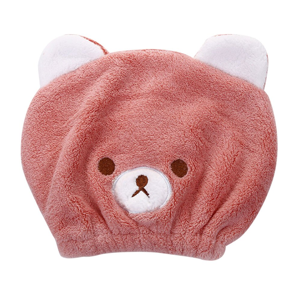 ITODA 3D Kids Hair Drying Towels Soft Absorbent Microfiber Wet Quick Dry Turban Head Bathing Wraps Cartoon Hat Cap for Girl
