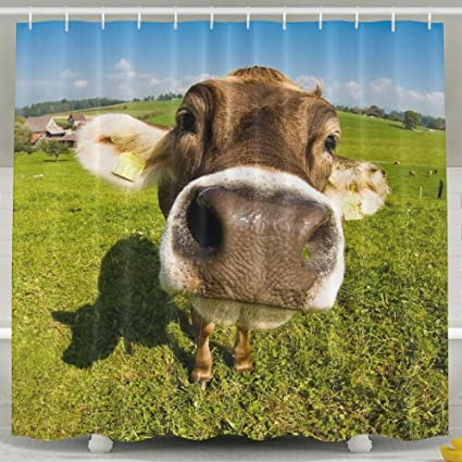 Wallpaper Desktop Cow Shower Curtain Waterproof Decorative Bathroom Curtains