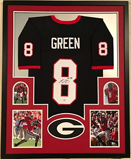 huge discount 4dcd3 50852 FRAMED AJ GREEN AUTOGRAPHED SIGNED GEORGIA BULLDOGS JERSEY ...