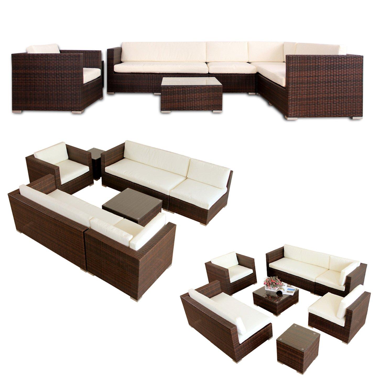 Napo Polyrattan Braun Gartenmöbel Rattan Lounge Gartenset Sitzgruppe