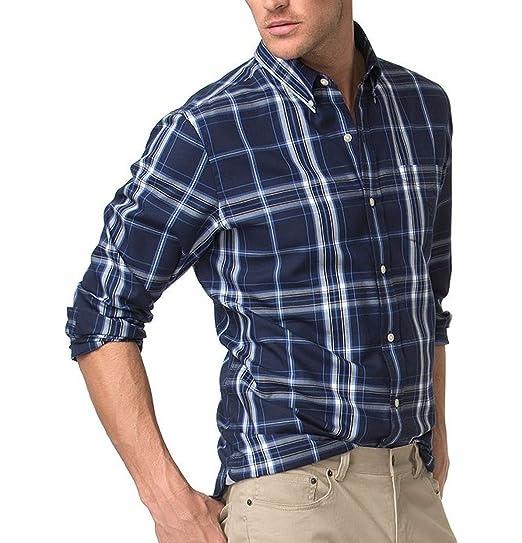 6c7ad0d1102e Chaps Mens Classic Fit Twill Shirt Newport Navy Blue Plaid (Medium ...
