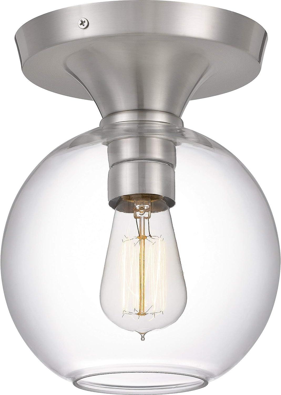 Quoizel Qf4058bn Hawley Glass Semi Flush Mount Ceiling Lighting 1 Light 100 Watt Brushed Nickel 10 H X 8 W Home Improvement Amazon Com