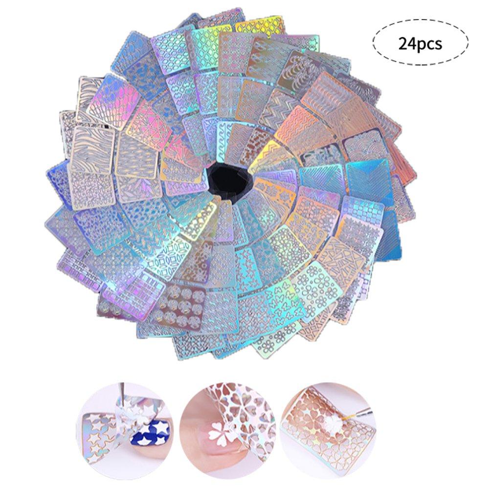 Pegatinas de Plantillas de Uñas para Diseño de Arte de Uñas, 24 hojas 144 varios Manicura Decoración de Accesorios Contever