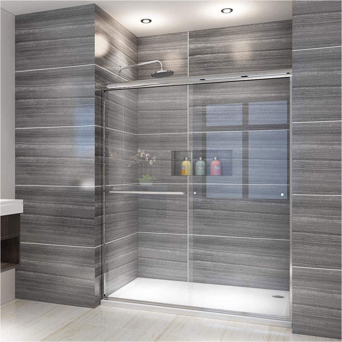 ELEGANT SHOWERS 58.5-60 W x 72 H, Semi-frameless Bypass Sliding Shower Doors, 1 4 Clear Glass, Chrome Finish