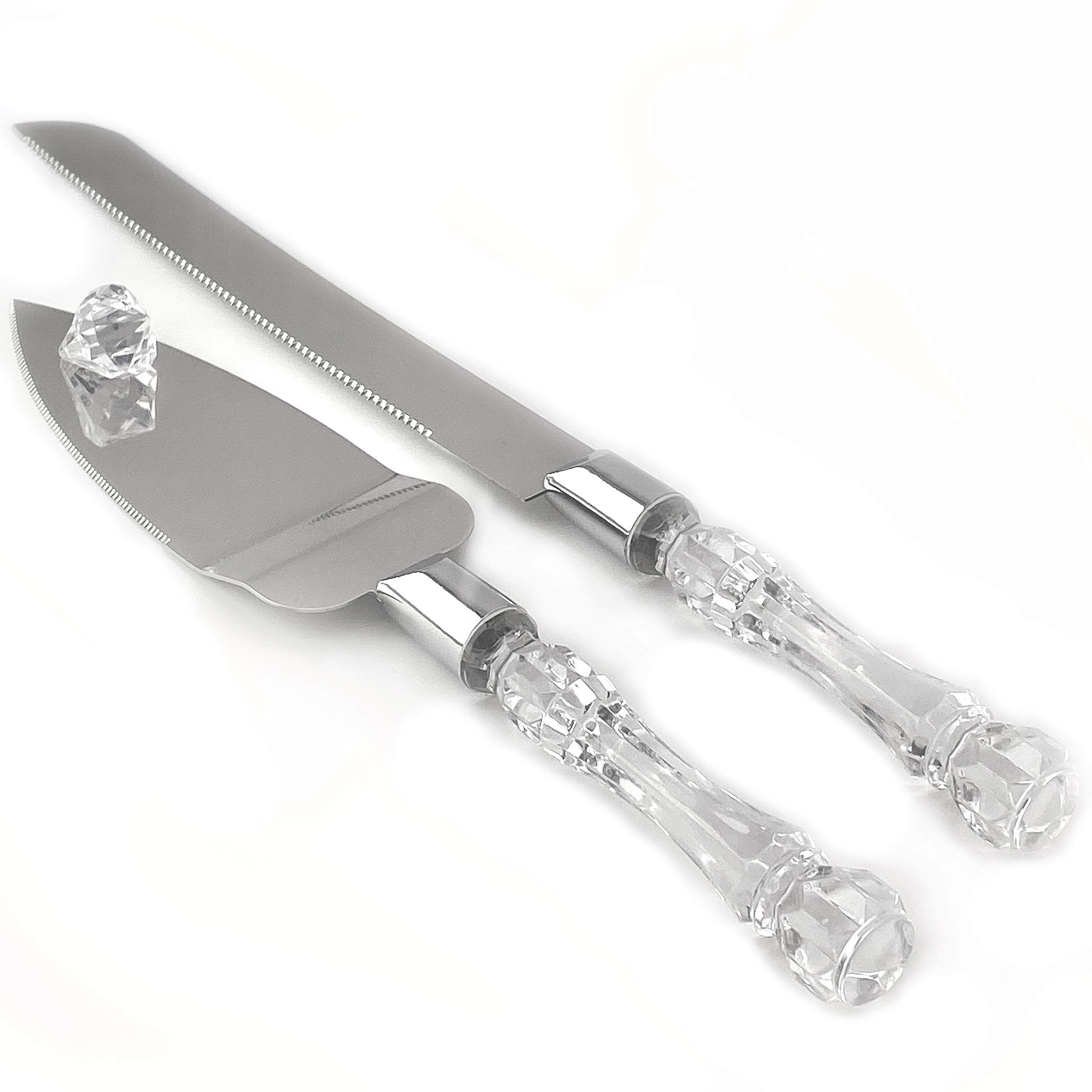 Adorox Cake Knife and Server Set Acrylic Stainless Steel Faux Crystal Handle