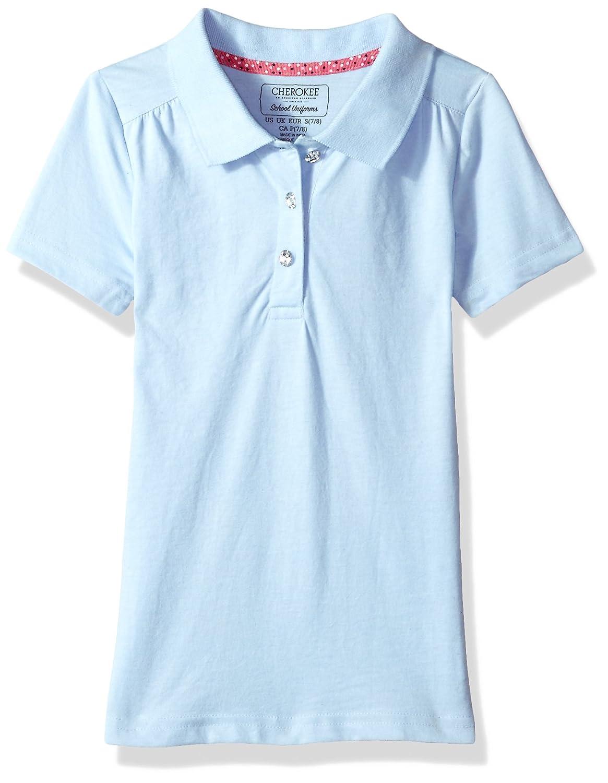 CHEROKEE Girls' Uniform Short Sleeve Polo with Rhinestones