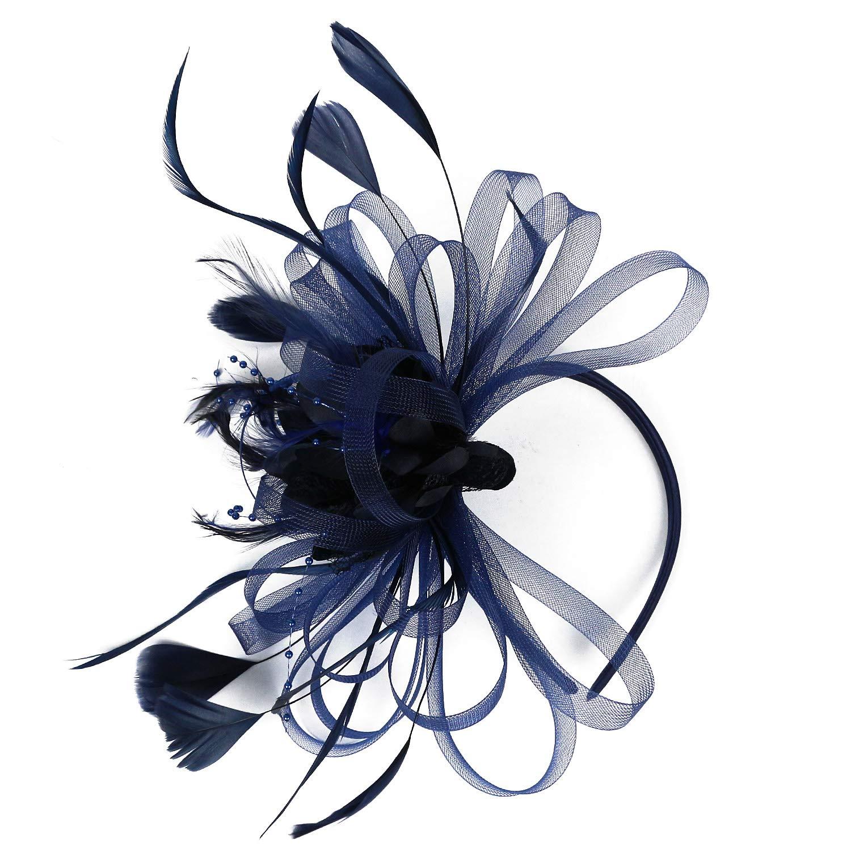 Kentucky Derby Fascinators for Women Sinamay Tea Party Hat Cocktail Headpiece Flower Mesh Feathers Headband Hat Navy_BD