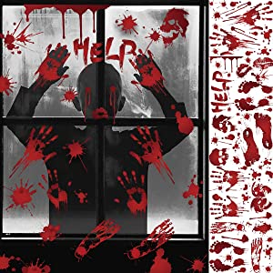 iLovepaper Bloody Handprint Footprint Halloween Decorations Halloween Window Clings, Zombie Vampire Thriller Horror Wall Decal Floor Clings, Spooky Window Stickers for Halloween Party Decorations