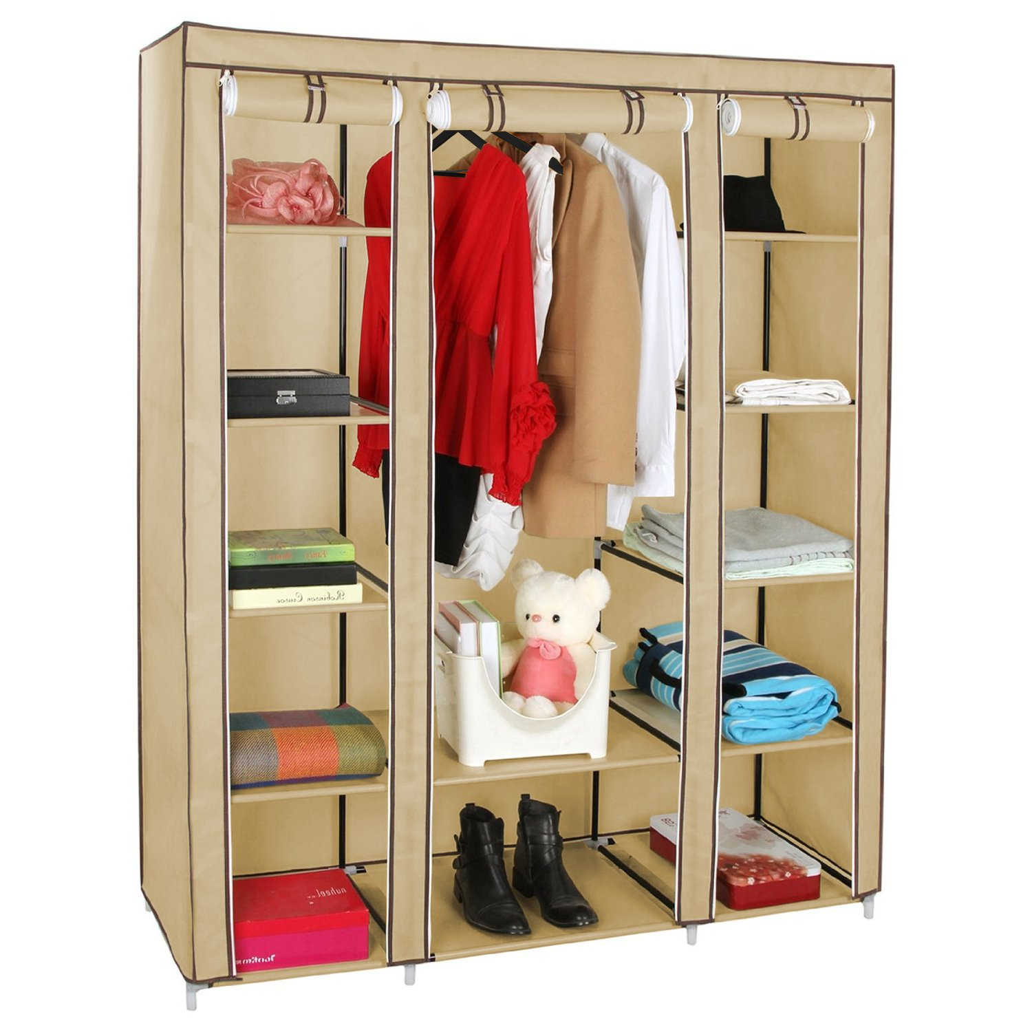 Kendan Ashland Beige - Triple Fabric Canvas Wardrobe Closet Storage Shelves Organiser Cupboard Hanging Rail with Free Coat Hangers