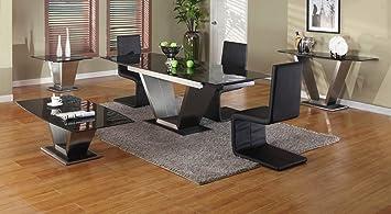 Image Unavailable & Viva Black Granite Contemporary Extending Dining Set - Extending ...