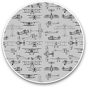 Vinyl Stickers (Set of 2) 15cm Black & White - Vintage Propeller Aeroplane Plane Laptop Luggage Tablet #36654