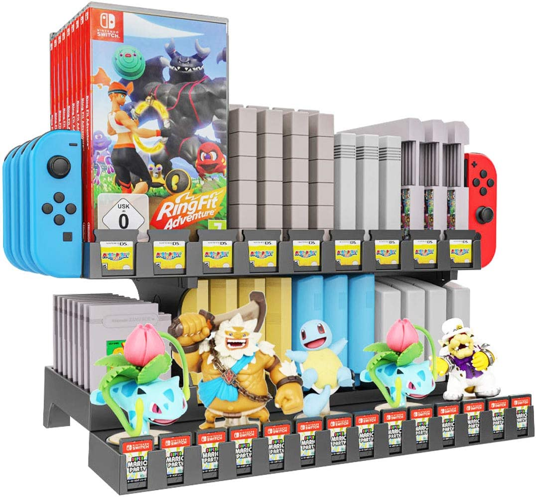 Skywin Retro Games Cartridge Holder Compatible with Nintendo Gameboy, Switch, NES, N64, and 3DS Games - 61 Games Capacity, Includes Slots for Switch Tablet, Joycon Controllers, and Amiibo Display