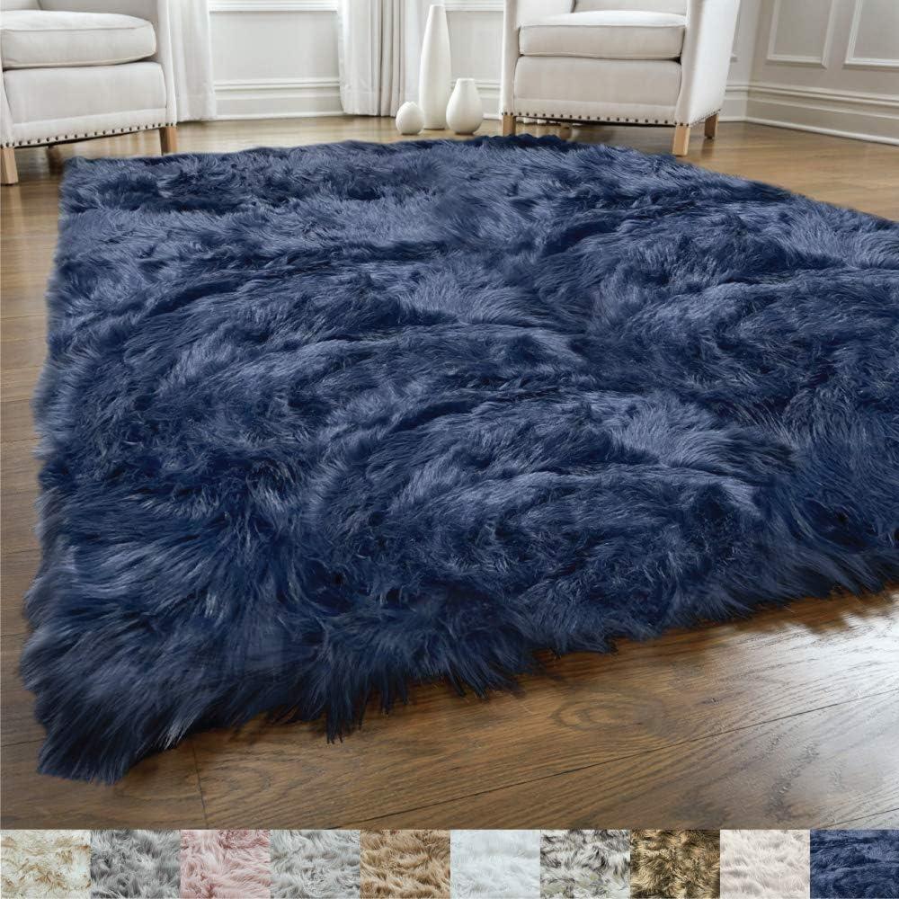 Gorilla Grip Original Premium Faux Fur Area Rug, Soft Living Room Area Rug, 5x7, Bedroom Floor Rugs, Softest Feeling Carpet, Best Touch, Luxury Modern Room Décor, Rectangle, Navy