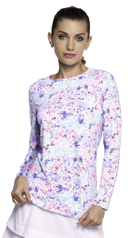 IBKUL Women's Sun Protective UPF 50+ Cooling Colleen Print Long Sleeve Crew Neck - 12285