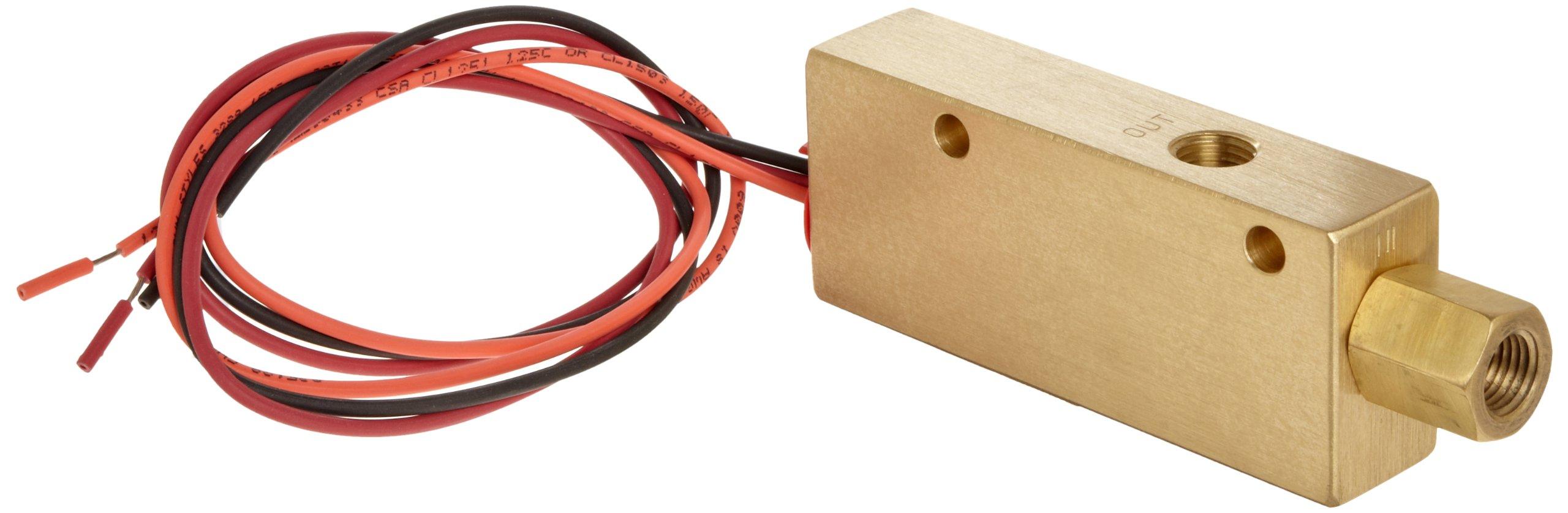 Gems Sensors FS-925 Series Brass Flow Switch, Inline, Piston Type, 0.1 gpm Flow Setting, 1/4'' NPT Female