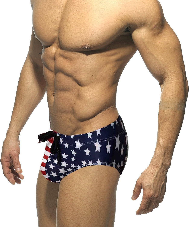 MIZOK Mens Ployester Camo Swimsuit Bikni Briefs with Adjustable Drawstring