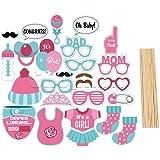 JZK® 25 x Papel photo booth photobooth photocall selfie accesorios decoracion para niña baby shower bebes recien nacidos party fiesta