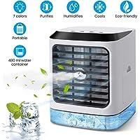 OUTERDO Climatiseur Portable, Humidificateur de Refroidisseur d'air, Purificateur d'air Ventilateur de Bureau, Purificateur d'air Mobile 4 en1, Mini Ventilateur pour Maison/Cuisine/Extérieur/Bureau