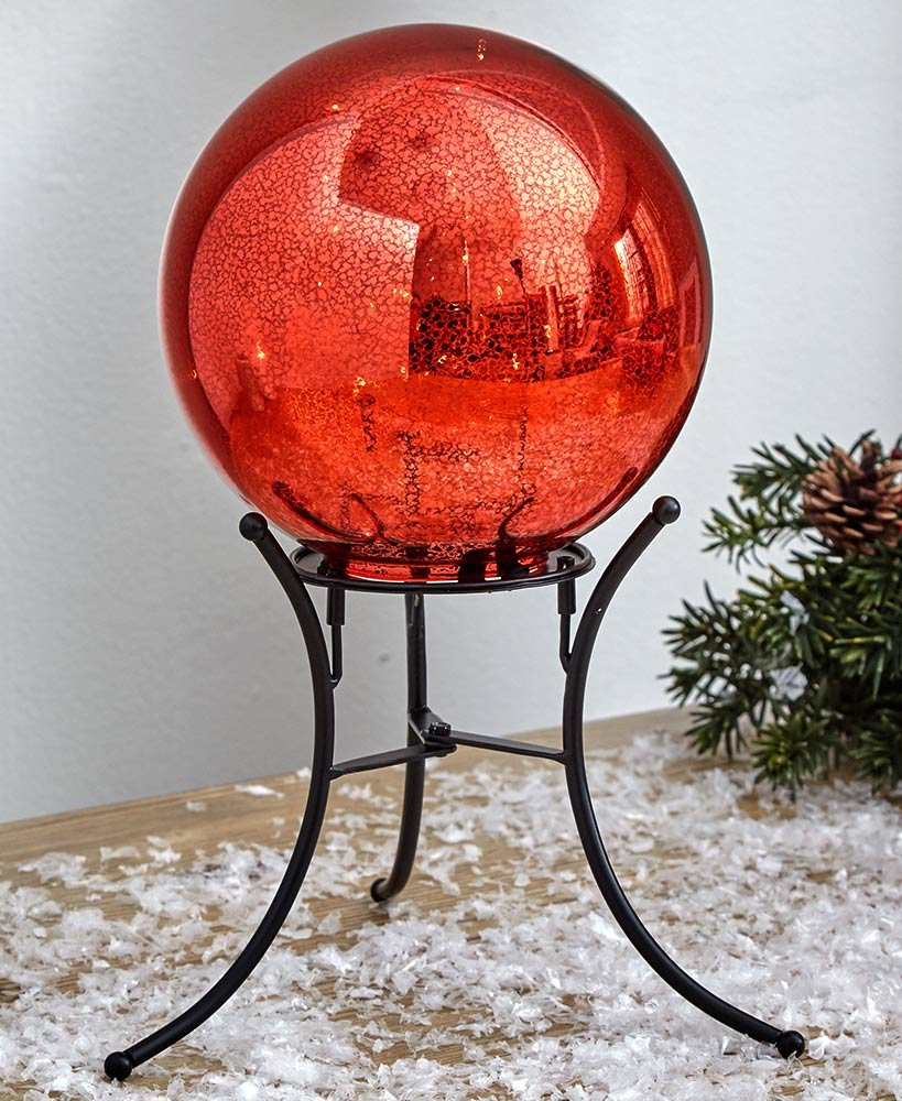 The Lakeside Collection Lighted Gazing Ball - Red
