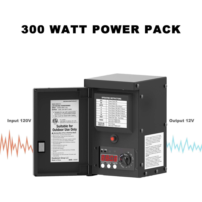 Goodsmann 300 Watts Low Voltage Transformer with Sensor and Weather Shield 120V Input 12V Output by GOODSMANN