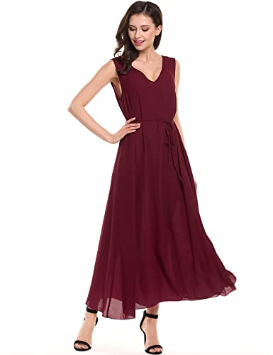 ACEVOG Womens Casual Chiffon V Neck Sleeveless Holiday Summer Long Maxi Dress with Waist Belt
