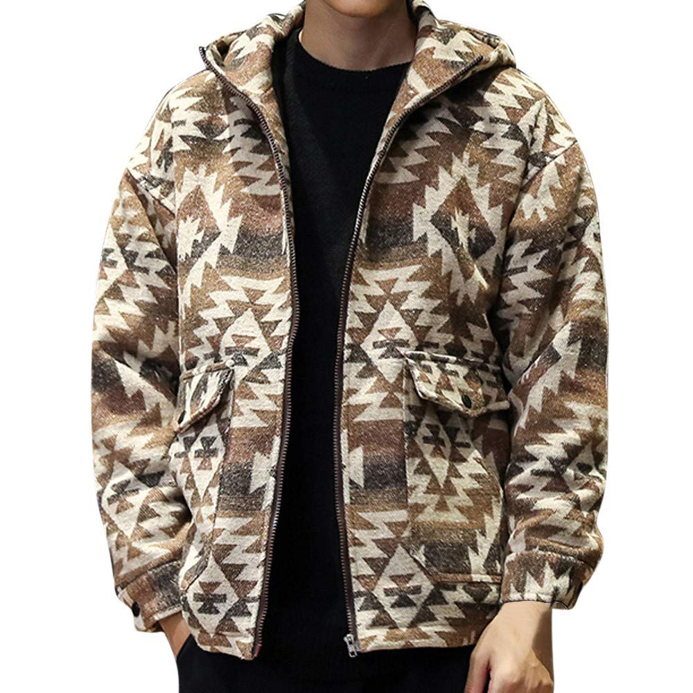 GREFER Men's Fashion Printed Jacket Casual Hoodie Zipper Pocket Oversize Coat Khaki by GREFER