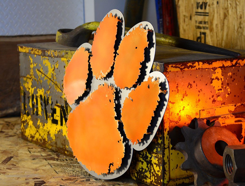 Gear New Clemson University Paw 3D Vintage Metal College Man Cave Art, Large, Orange/Silver by Gear New (Image #5)