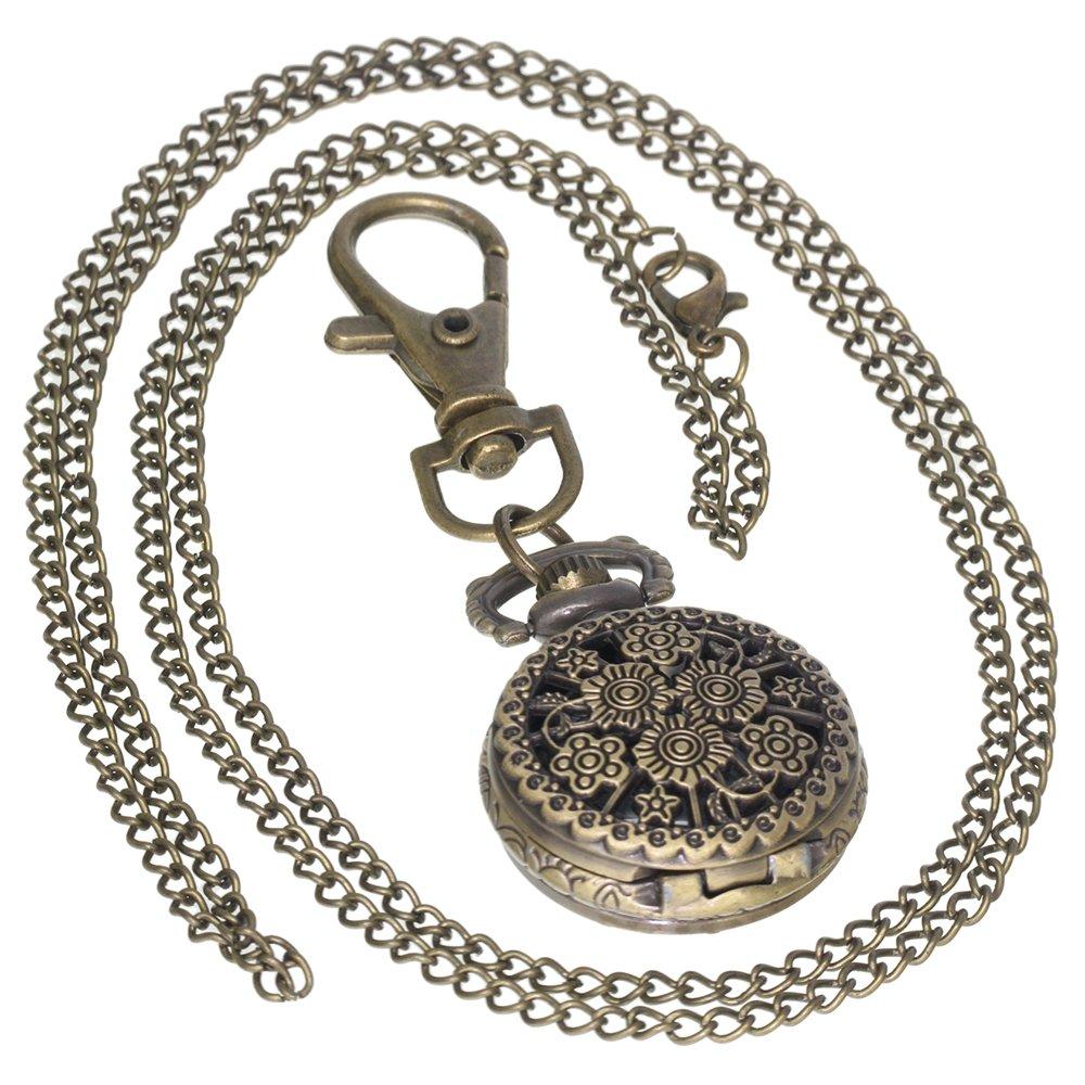 Retro Design Hollow Flower Fob Watch Vintage Bronze Pocket Watch Necklace Chain Men's Women 1 PC Necklace 1 PC Key Clip Quartz Pendant Watch Fob Nurse Watch