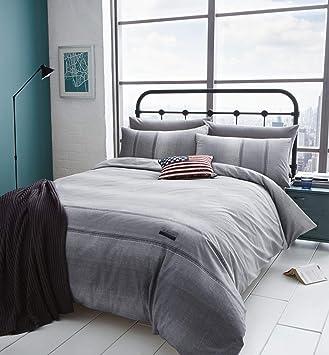 Catherine Lansfield Denim Bettwäsche Set Grau Bettbezug Für Doppelbett