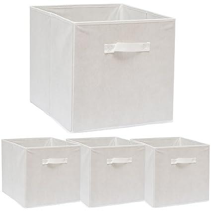 DuneDesign Set de 4 Cajas de Almacenaje 33x38x33cm Cestas de Almacenamiento Plegables Cestos con 2 Asas