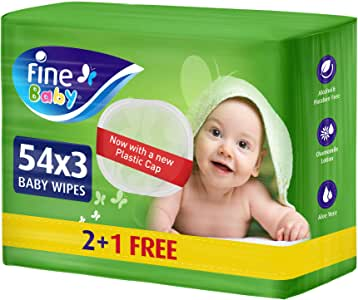 Fine Baby, Wet Wipes, with Aloe Vera & Chamomile Lotion, 54 wipes x 3 packs