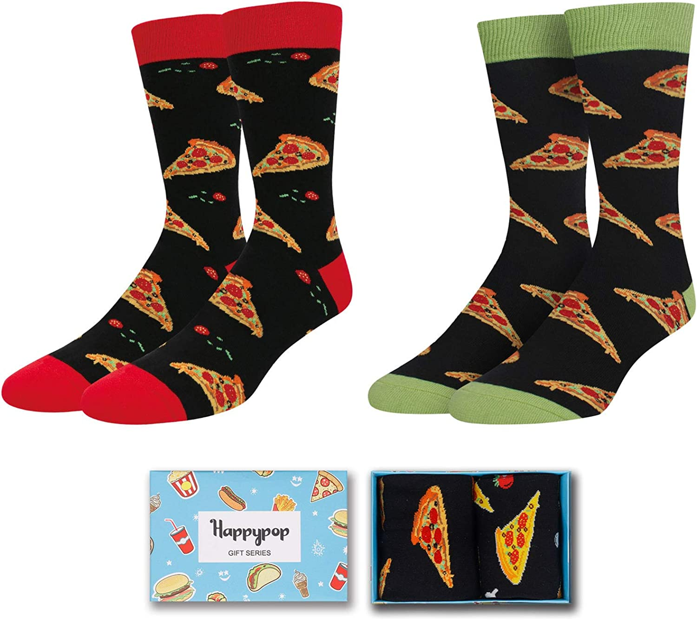 HAPPYPOP Men Funny Math Chemistry Taco Big Dill Pineapple Avocado Animal Socks 2 Pack, Novelty Gift with Gift Box