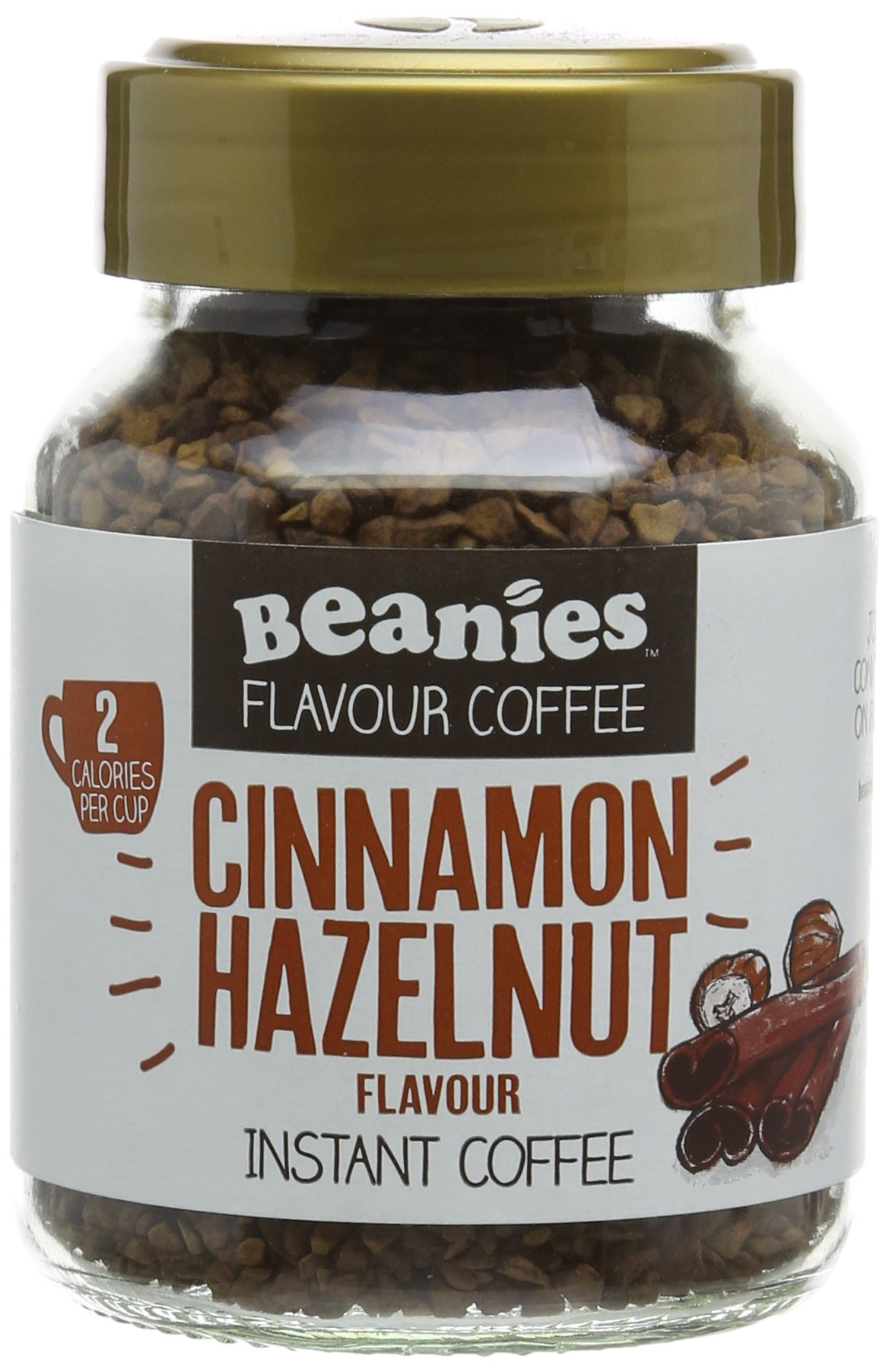 Beanies Cinnamon and Hazelnut Flavoured Instant Coffee 50 g (Pack of 6)