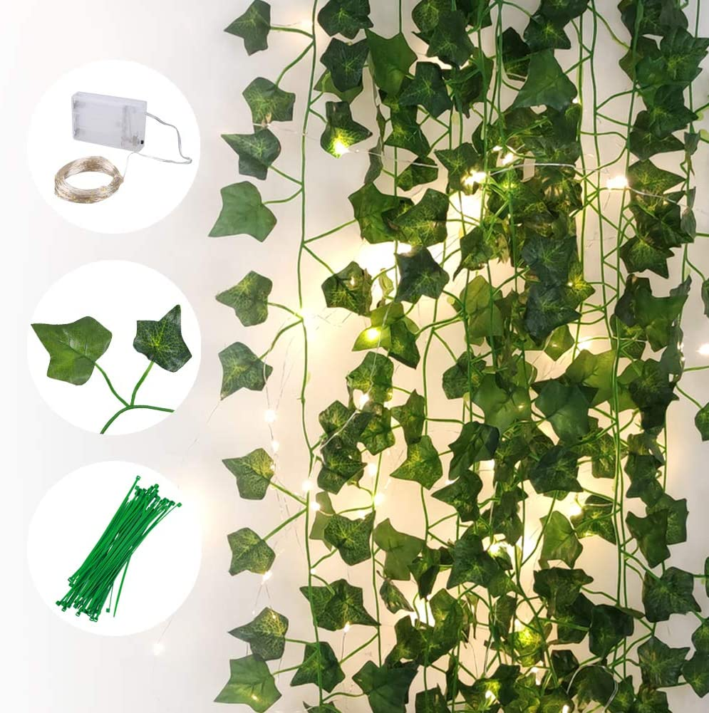 Greentime 12 Pack Artificial Ivy Leaf Plants Vine with 100 LED String Light Faux 87 Feet Greenery Hanging Ivy Garland for Wedding Home Garden Wall Table Runner Centerpiece DIY Christmas Decor