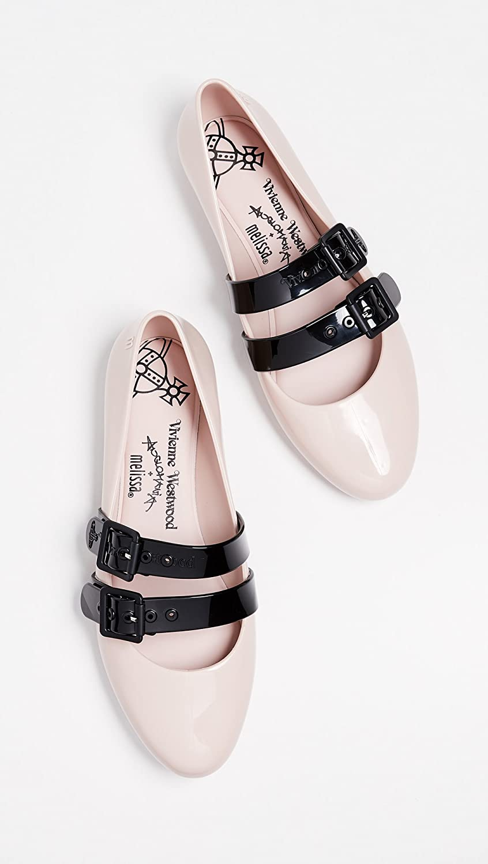 Melissa Women's x Vivienne Westwood Doll Flats B07BH3YF7W 6 B(M) US|Pink/Black