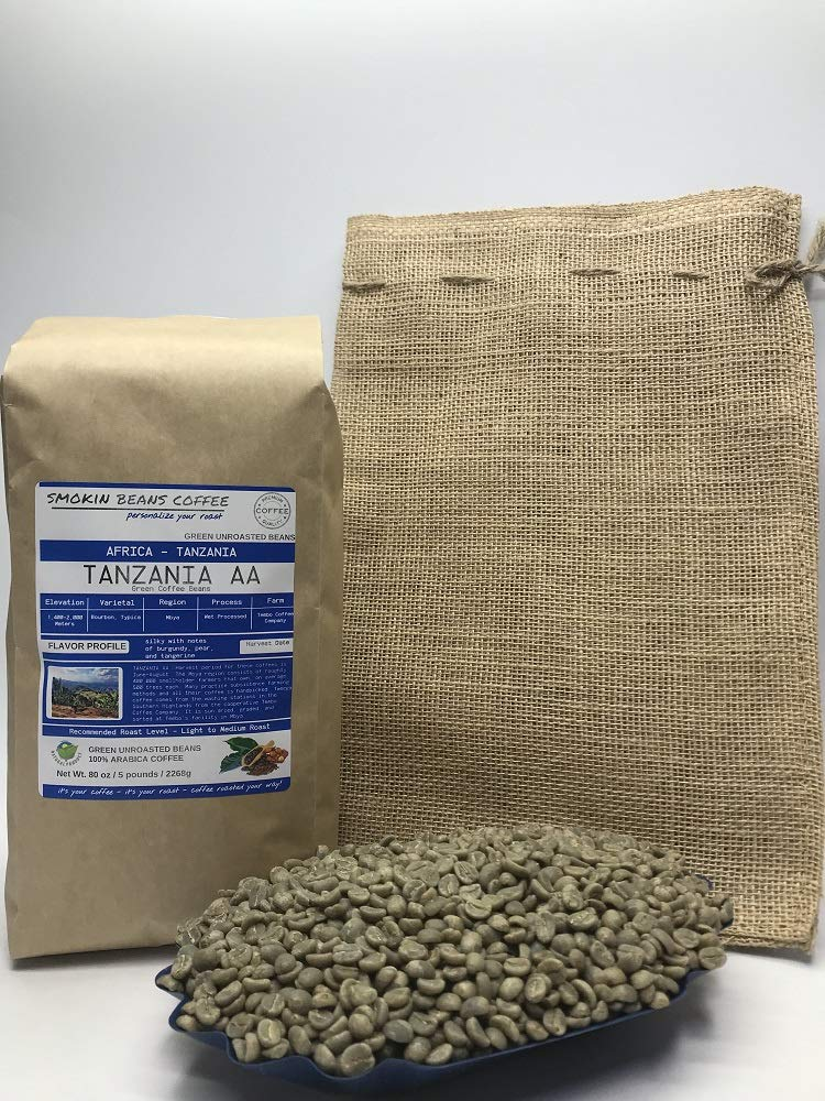 5 Pounds - Southern Africa - Tanzania AA - Unroasted Arabica Green Coffee Beans - Grown Mbya Region - Altitude 1400-2000M - Varietal Typica - Drying/Milling Process Wet Processed - Includes Burlap Bag by Smokin Beans