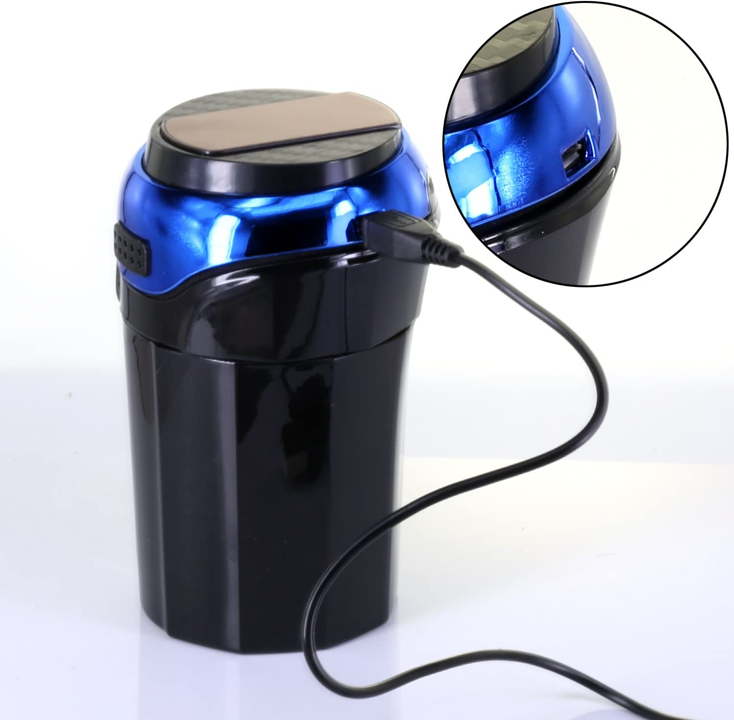 AUTLY Car Ashtray Cup with Detachable smokeless Lighter and Blue LED Light USB Charging car Ashtray Ashtray with lid Blue
