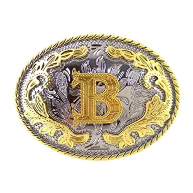 b1125f0ccf8d P Prettyia Rodeo Classique Lettre Initiale B Ceinture Boucle Arabesque  Motif Western Cowgirl