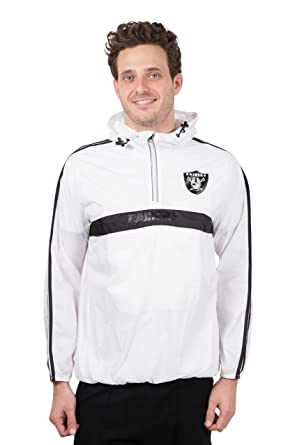 online store 21be8 a6ed0 Ultra Game NFL Oakland Raiders Men's Quarter Zip Pullover Hoodie  Windbreaker Jacket Packable, White, Large